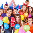 Stock Photo: Group in party hat.