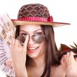 Woman with money . — Stockfoto
