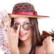 Foto de Stock  : Woman with money .