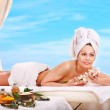 Woman getting spa outdoor. — Stock Photo