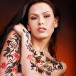 Girl with body art. — Stock Photo