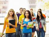 Skupina studentů s notebookem venkovní. — Stock fotografie