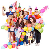 Group with balloon on party. — Stock Photo