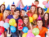 Group in party hat. — Stock Photo