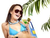 Woman under palm tree. — Stock Photo