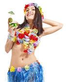 Mädchen in tracht von hawaii. — Stockfoto