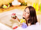 Woman take bubble bath — Stock Photo