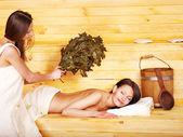 Girl in sauna. — Stock Photo