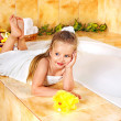 Child bathing in bathroom. — Stock Photo