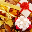 Autumn still life with group gift box. — Stock Photo