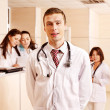 Group doctors at reception in hospital. — 图库照片