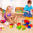Children playing construction set — Foto Stock