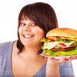Woman eating hamburger. — Stock Photo #11831979
