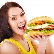 Woman holding hamburger. — Stock Photo #11831994