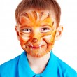 Child boy with paint of face. — Lizenzfreies Foto