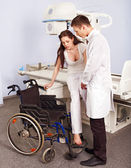 Patient and doctor in x-ray room. — Stock Photo