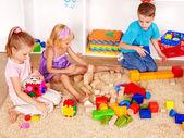 Children playing construction set — Stock Photo
