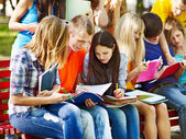 Group student with book outdoor. — Stock Photo