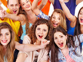 Group sport fan cheer for. — Stock Photo