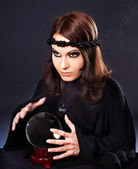 Woman with crystal ball. — Stok fotoğraf