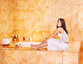 Woman in bathroom. — Stock Photo