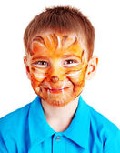 Child boy with paint of face. — Stock Photo