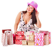 Woman holding gift box at birthday party. — Foto Stock