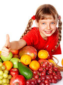 Girl with group of fruit. — Stock Photo