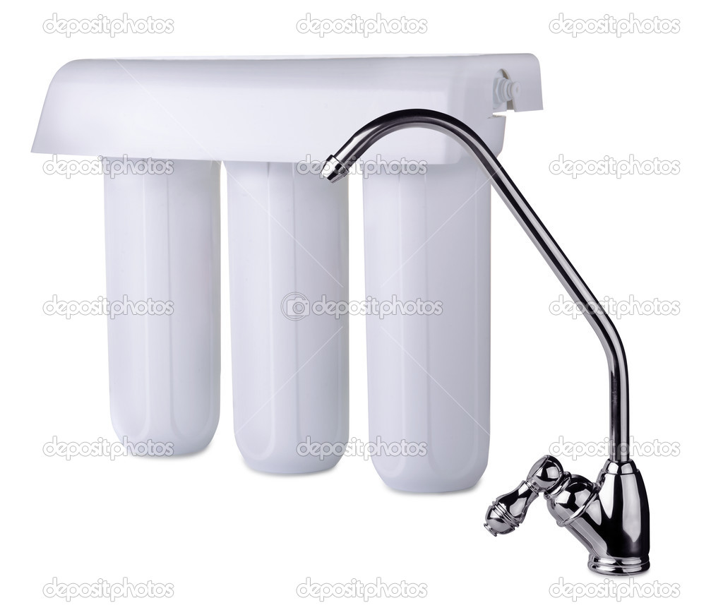 Faucet and water filter isolated on white  Stock Photo #11293205