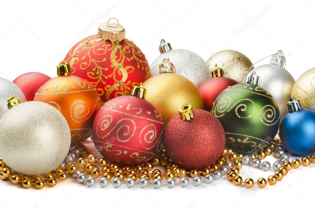 Christmas colorful decoration baubles and beads isolated on white  Foto Stock #12006839
