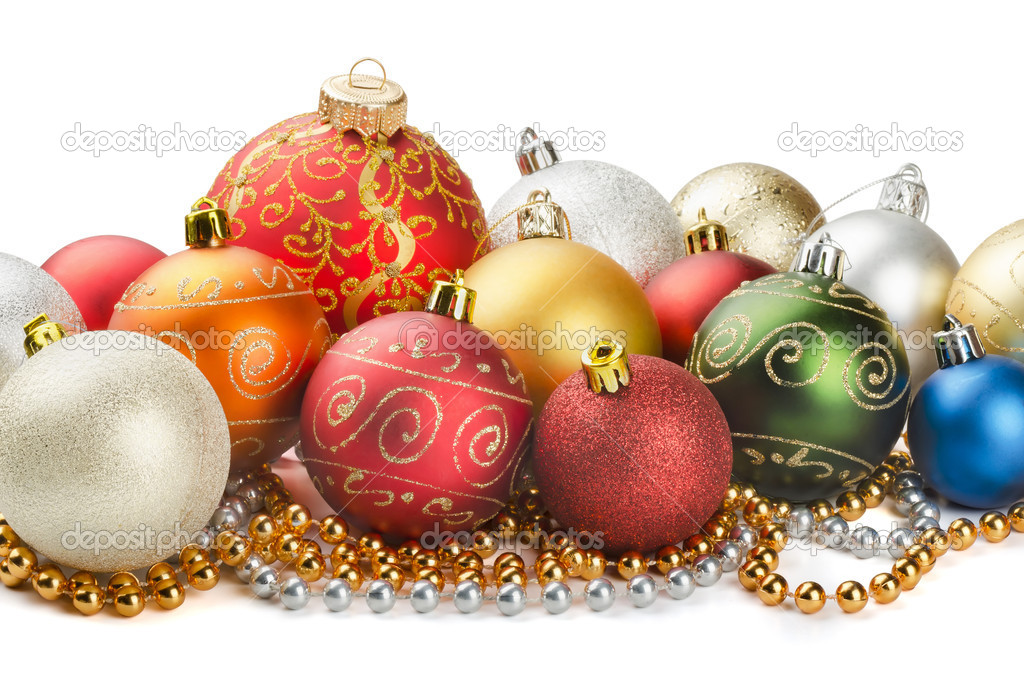 Christmas colorful decoration baubles and beads isolated on white  Foto de Stock   #12006839