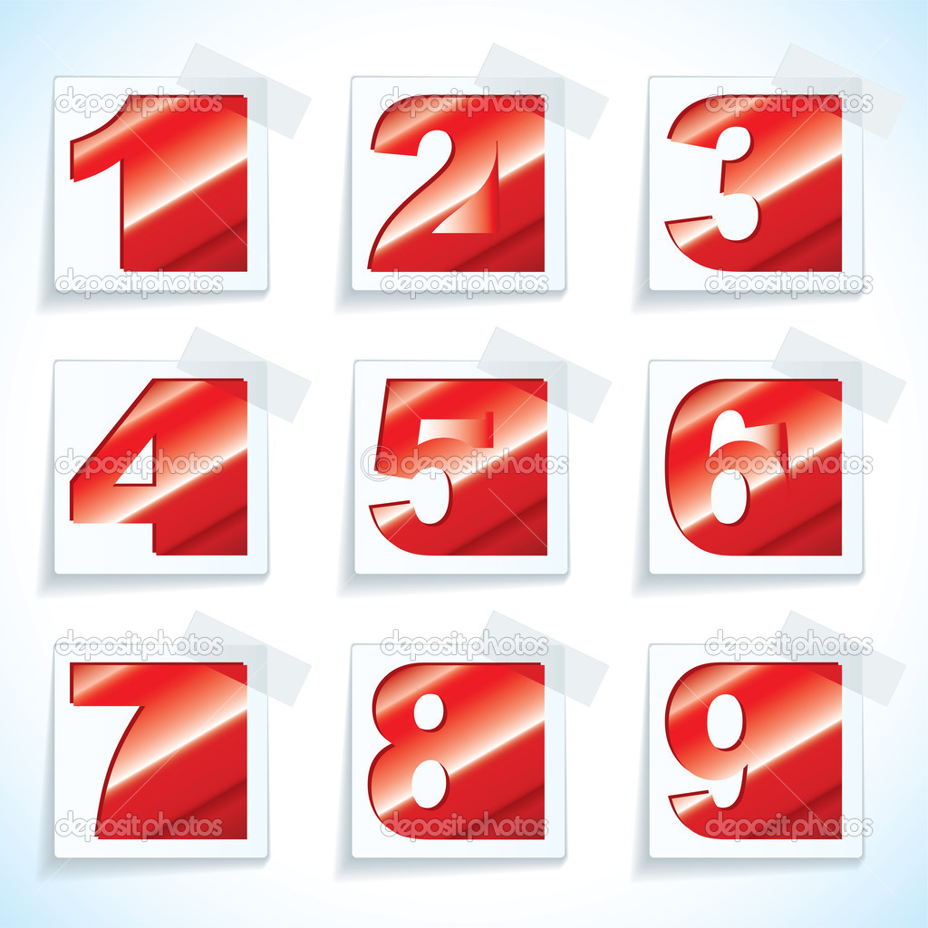 Collection of nine red numbers on white paper tags with drop shadow — Stock Vector #11579723