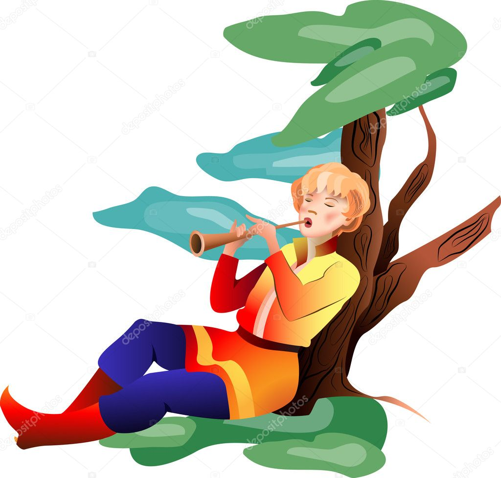 The young man playing a pipe by the tree in a meadow on a transparent background — Stock Vector #11575048