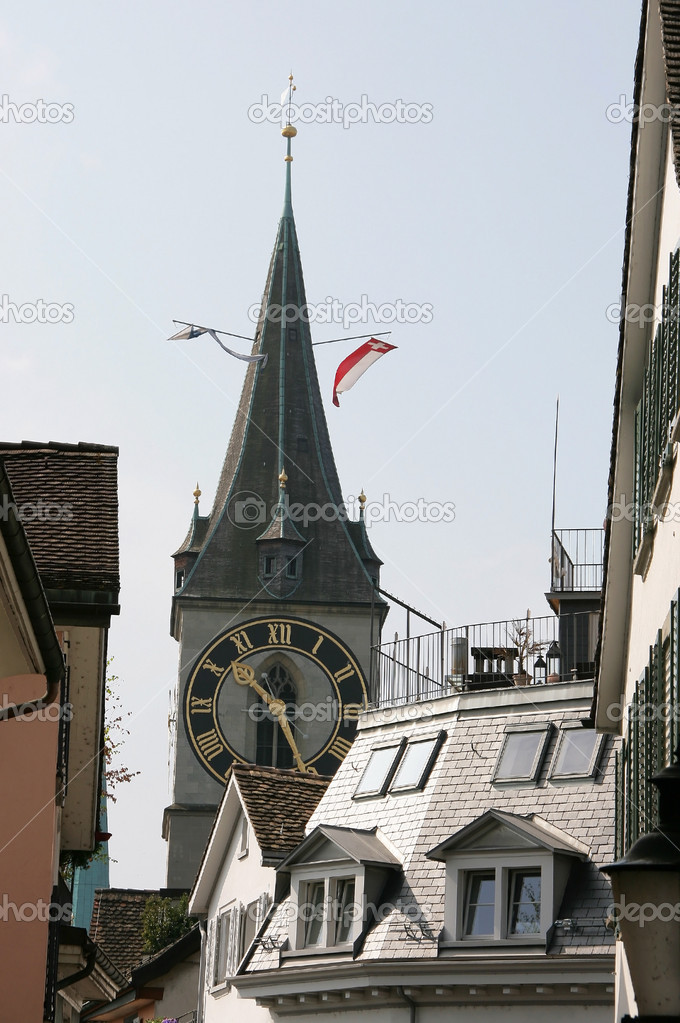 Tower clock at Zurich, Switzerland — Stock Photo #11037169