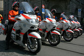 Swiss police on motorcycles — Stock Photo