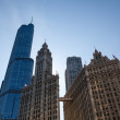 Stock Photo: Wrigley building and Trump tower Chicago