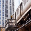 Chicago Orange line train on Loop - Stock Photo