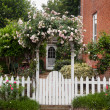 Wild flowers growing over white picket fence — Stock Photo