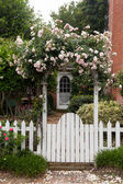 Wild flowers growing over white picket fence — Stockfoto