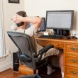 图库照片: Senior male working in home office