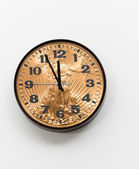 Office clock with gold coin as face for concept — Stock Photo