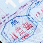 Visa stamps in US passport Thailand Cambodia — Stock Photo #11368995