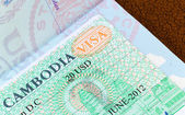 Visa for Cambodia in US passport — Stock Photo