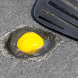 Egg on hot road surface beginning to fry - Stock Photo