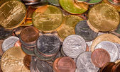 US coins including one ounce pure gold — Stock Photo