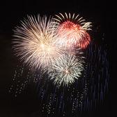 Fireworks in dark sky ready for isolation — Stock Photo