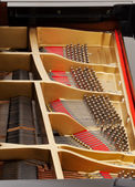 Interior of grand piano with strings — Stock Photo