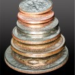 Stack of USA currency coins in macro — Stock Photo