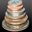 Stack of USA currency coins in macro — Stockfoto