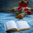 Stock Photo: Paperback book open on bed with teddy bear